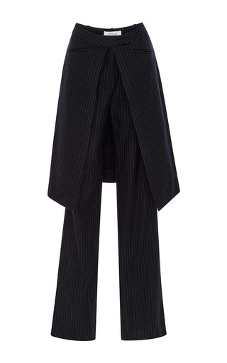 Midnight blue pinstriped wool wrap skirt trousers  by DEREK LAM 10 CROSBY Now Available on Moda Operandi