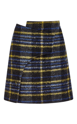 Wool, angora and mohair plaid wrap skirt by DEREK LAM 10 CROSBY Now Available on Moda Operandi
