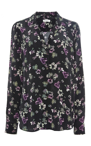 Black silk adalyn floral blouse by EQUIPMENT Now Available on Moda Operandi