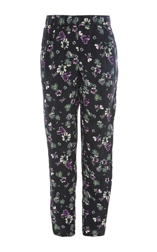 Black silk printed hadley floral pants by EQUIPMENT Now Available on Moda Operandi