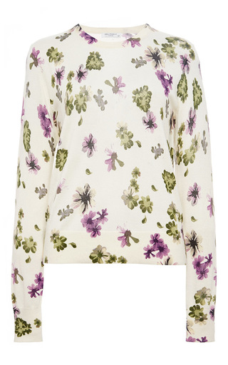 Sloane silk cashmere floral printed sweater by EQUIPMENT Now Available on Moda Operandi