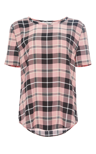 Blush pink silk riley plaid tee by EQUIPMENT Now Available on Moda Operandi