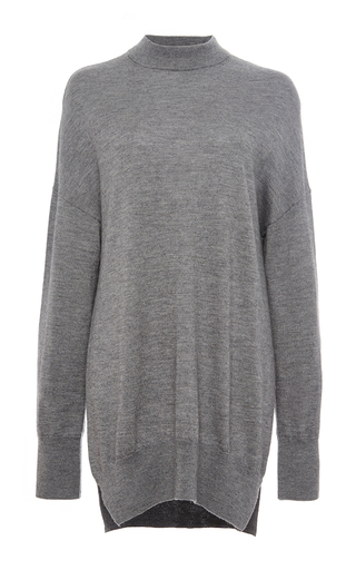 Grey cashmere silk donald mock neck sweater by EQUIPMENT Now Available on Moda Operandi