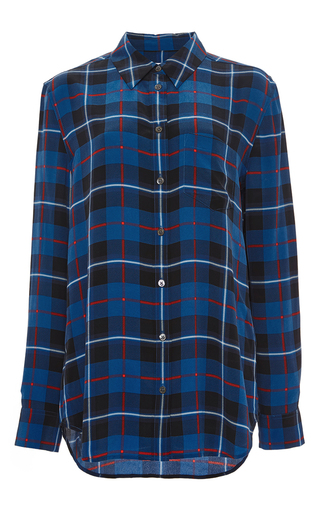Silk check print reese button down blouse by EQUIPMENT Now Available on Moda Operandi