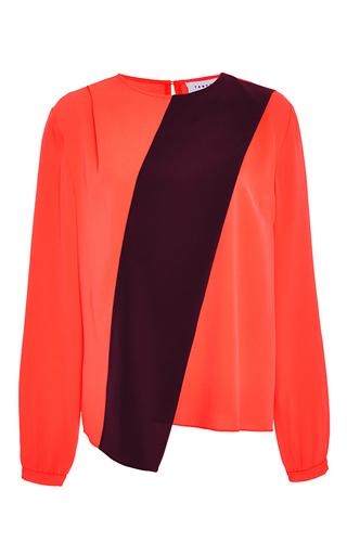 Orange silk burgundy stripe alyssa blouse by TANYA TAYLOR Now Available on Moda Operandi