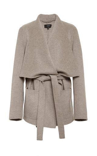 Brown live short wrap coat  by JOSEPH Available Now on Moda Operandi