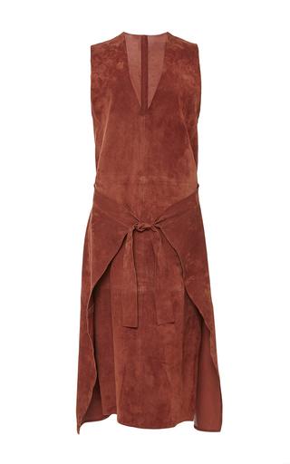 Chestnut max sleeveless suede wrap dress  by JOSEPH Available Now on Moda Operandi