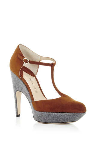 Kidskin leather bellevue two tone pumps by PAUL ANDREW Now Available on Moda Operandi