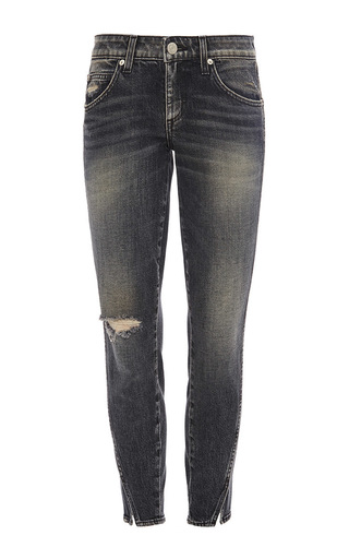 Dark grey twist vixen destroy mid rise jeans by AMO Now Available on Moda Operandi