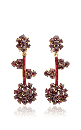 Crystal Flower Drop Earrings  by OSCAR DE LA RENTA Now Available on Moda Operandi