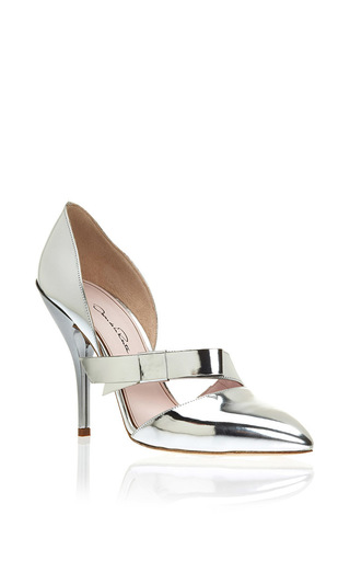 Silver patent goat leather fauna strap pumps by OSCAR DE LA RENTA Now Available on Moda Operandi