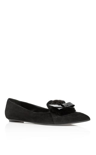 Black mink embellished hyfa loafers by OSCAR DE LA RENTA Now Available on Moda Operandi