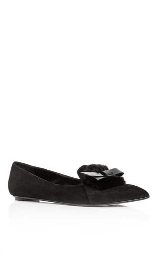 Black mink embellished hyfa loafers by OSCAR DE LA RENTA Now Available on Moda Operandi