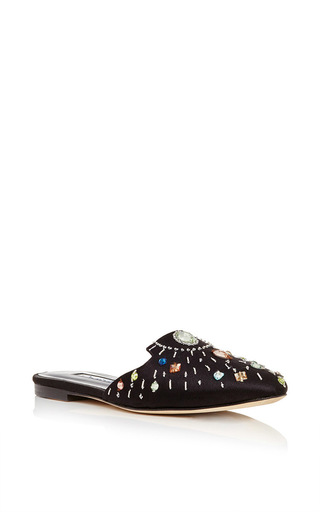 Hula goat leather and satin embellished slip on flats by OSCAR DE LA RENTA Now Available on Moda Operandi