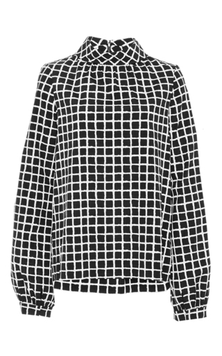 Silk long sleeved check blouse by OSCAR DE LA RENTA Now Available on Moda Operandi