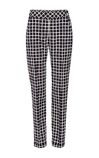 Stretch silk slim checked pants by OSCAR DE LA RENTA Now Available on Moda Operandi