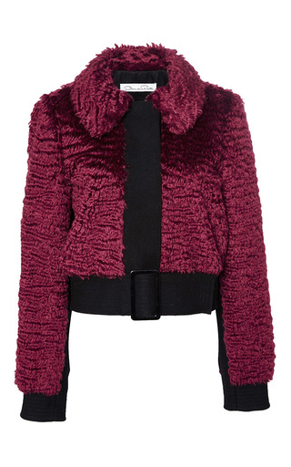 Red virgin wool mohair buckle jacket by OSCAR DE LA RENTA Now Available on Moda Operandi
