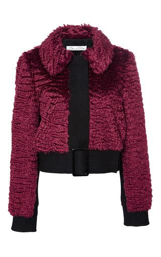 Red virgin wool mohair buckle jacket by OSCAR DE LA RENTA Now Available on Moda Operandi
