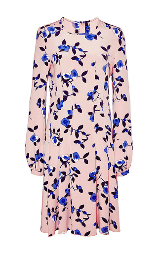 Silk Floral Printed Dress by OSCAR DE LA RENTA Now Available on Moda Operandi