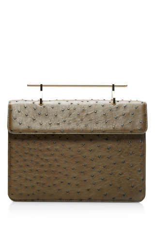 Memento mori ostrich leather bag in green by M2MALLETIER Now Available on Moda Operandi