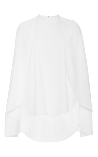 White cotton poplin detailed sleeved shirt by DELPOZO Now Available on Moda Operandi