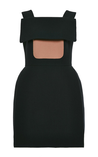 Dark green wool crepe dress with yoke by DELPOZO Now Available on Moda Operandi