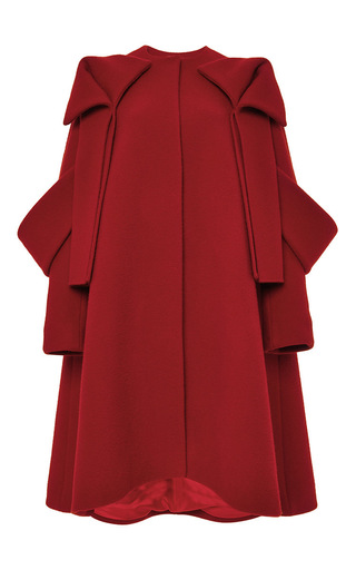 Red wool mohair bow detail coat by DELPOZO Now Available on Moda Operandi