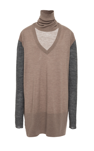 Beige Color Block Merino Wool Sweater by TOME Now Available on Moda Operandi