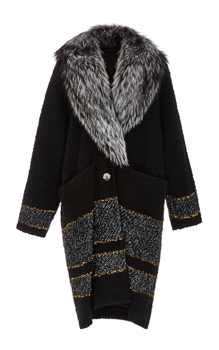 Gold Striped Boucle Coat With Fox Fur Collar by SUNO Now Available on Moda Operandi