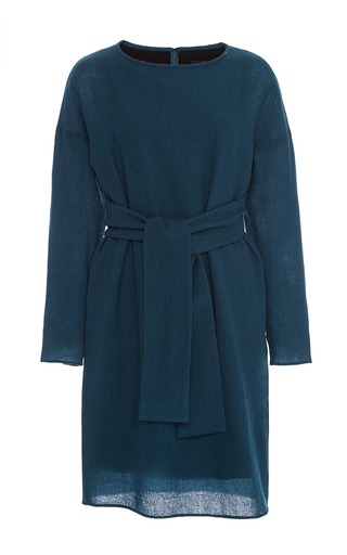 Aurora wool draped tie waist dress by TIBI Now Available on Moda Operandi