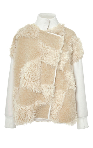 Ivory patchwork faux fur bomber by TIBI Now Available on Moda Operandi