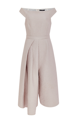 Blush corazon jacquard off the shoulder jumpsuit  by TIBI Now Available on Moda Operandi