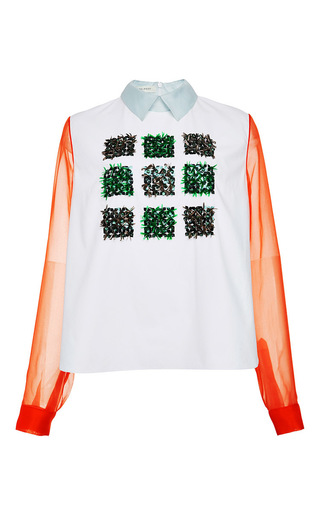 Embroidered organza sleeve cotton poplin shirt by DELPOZO Now Available on Moda Operandi