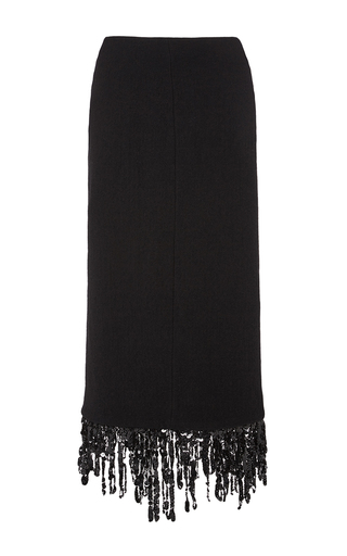 Black wool sequin fringed skirt by ISA ARFEN Now Available on Moda Operandi