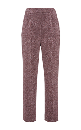 Silver pink lurex slim tailored pants by ISA ARFEN Now Available on Moda Operandi