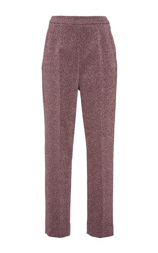 Silver pink lurex slim tailored pants by ISA ARFEN Now Available on Moda Operandi