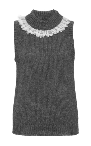 Wool alpaca lace trimmed sleeveless sweater  by ISA ARFEN Now Available on Moda Operandi