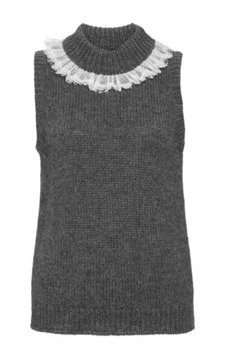 Wool alpaca lace trimmed sleeveless sweater  by ISA ARFEN Now Available on Moda Operandi