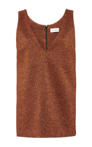 Copper  lurex sleeveless tunic length top by ISA ARFEN Now Available on Moda Operandi