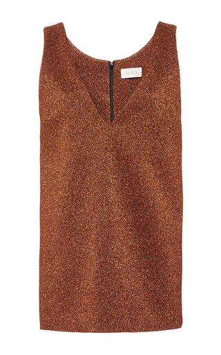 Copper  lurex sleeveless tunic length top by ISA ARFEN Now Available on Moda Operandi