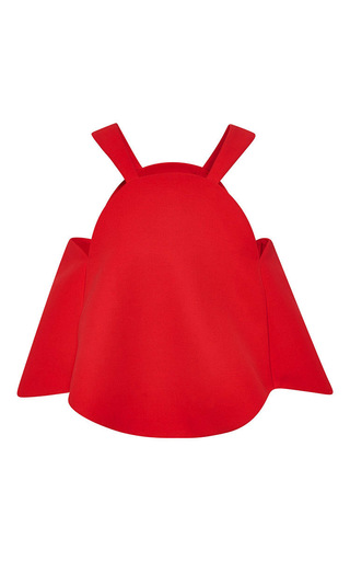 Red cotton crepe gramophone top by ROSIE ASSOULIN Now Available on Moda Operandi