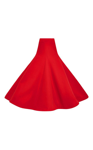 Red cotton crepe gramophone skirt by ROSIE ASSOULIN Now Available on Moda Operandi
