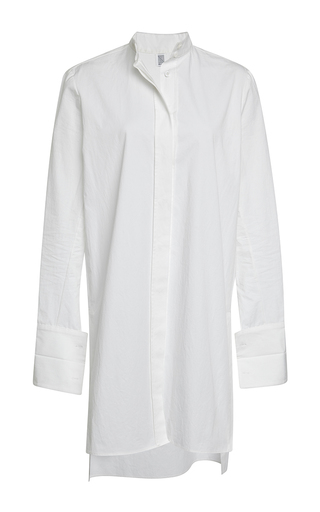 White cotton poplin kurta button down shirt by ROSIE ASSOULIN Now Available on Moda Operandi