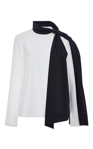 Joplin cotton contrast neck scarf top  by ROSIE ASSOULIN Now Available on Moda Operandi