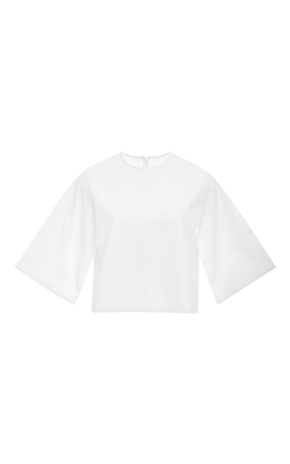 White cotton cropped t-shirt by ROSIE ASSOULIN Now Available on Moda Operandi