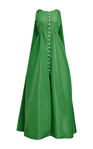 Green silk faille thumper pearl button down gown by ROSIE ASSOULIN Now Available on Moda Operandi