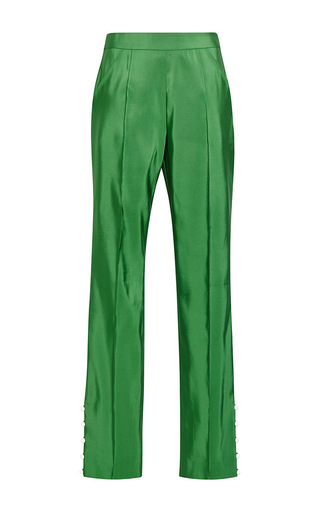 Green silk oboe pants with pearl button detail  by ROSIE ASSOULIN Now Available on Moda Operandi