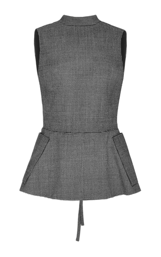 Houndstooth wool genet open back top  by ROSIE ASSOULIN Now Available on Moda Operandi