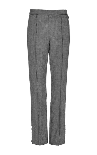 Houndstooth wool tailored oboe pants with pearl button detail by ROSIE ASSOULIN Now Available on Moda Operandi