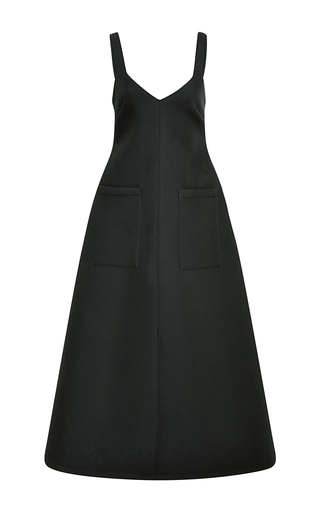 Double faced wool dress with oversized pockets by ROSIE ASSOULIN Now Available on Moda Operandi